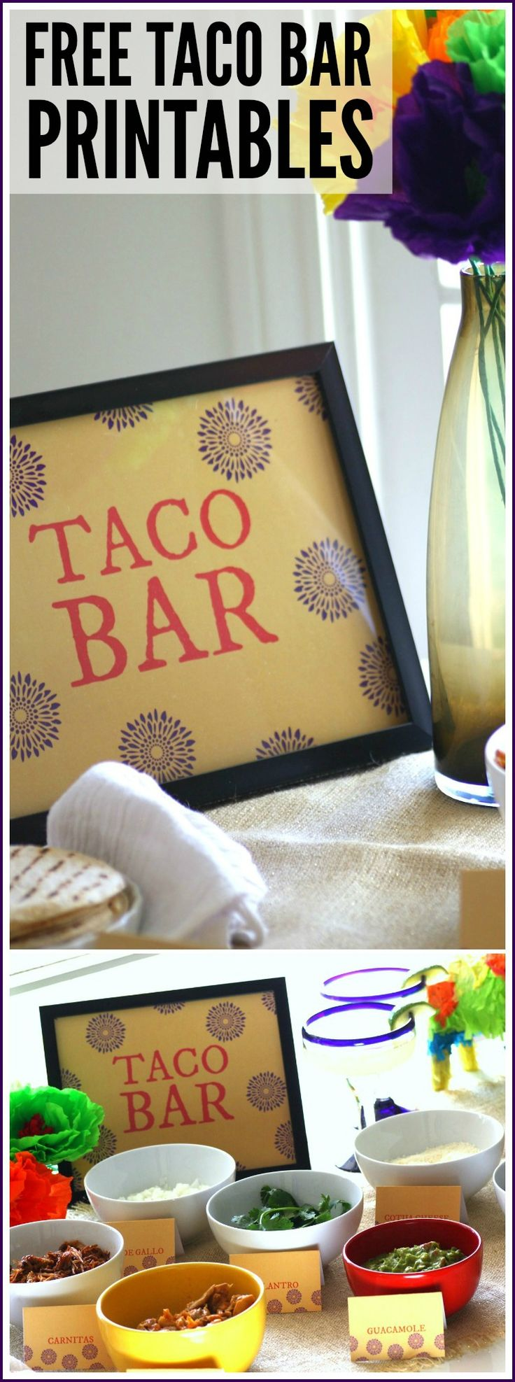 How about using our free editable taco bar printables to decorate your Cinco de Mayo party!