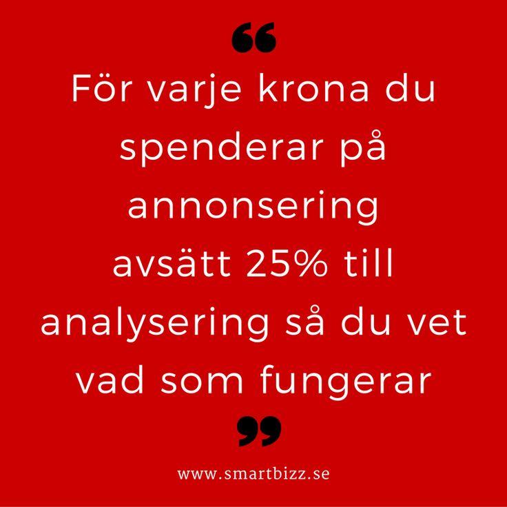 För varje krona du spenderar på annonsering i sociala medier behöver du avsätta 25% för att analysera resultatet.   Hur vet du annars vad som fungerar?   #socialamedier #marknadsföring #annonsering #SmartBizz #LindaBjörck