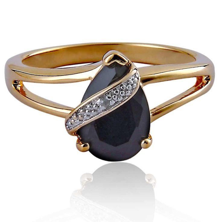 14k gold plated womens wedding band pear black onyx
