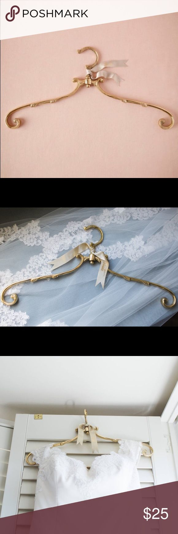 """BHLDN Wedding Dress """"French Market Hanger"""" GOLD Make your wedding photos picture-perfect with a beautiful bridal hanger for your dress! I used this briefly for photos with my wedding dress on my wedding day, but otherwise it's basically new! Retails for $35 with shipping on BHLDN's site. Save money! BHLDN Other"""