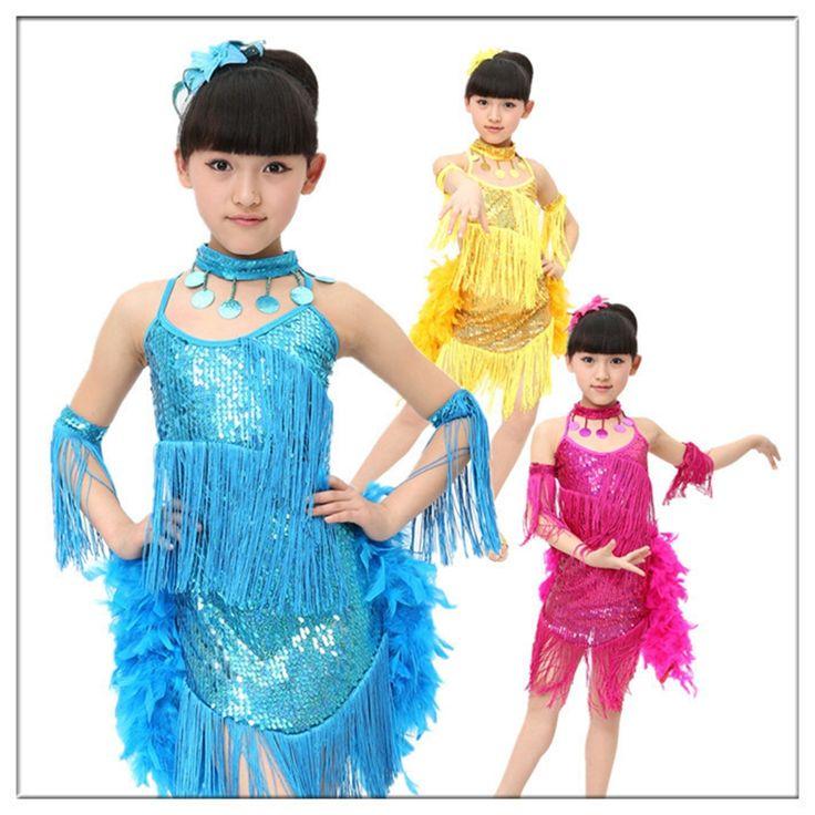 >> Click to Buy << 2016 NEW Girls Sparkling Yellow Light Blue Rose Sequined Fringe Salsa Dance Wear Kid Dance Costume Child Modern Dance Dresses #Affiliate