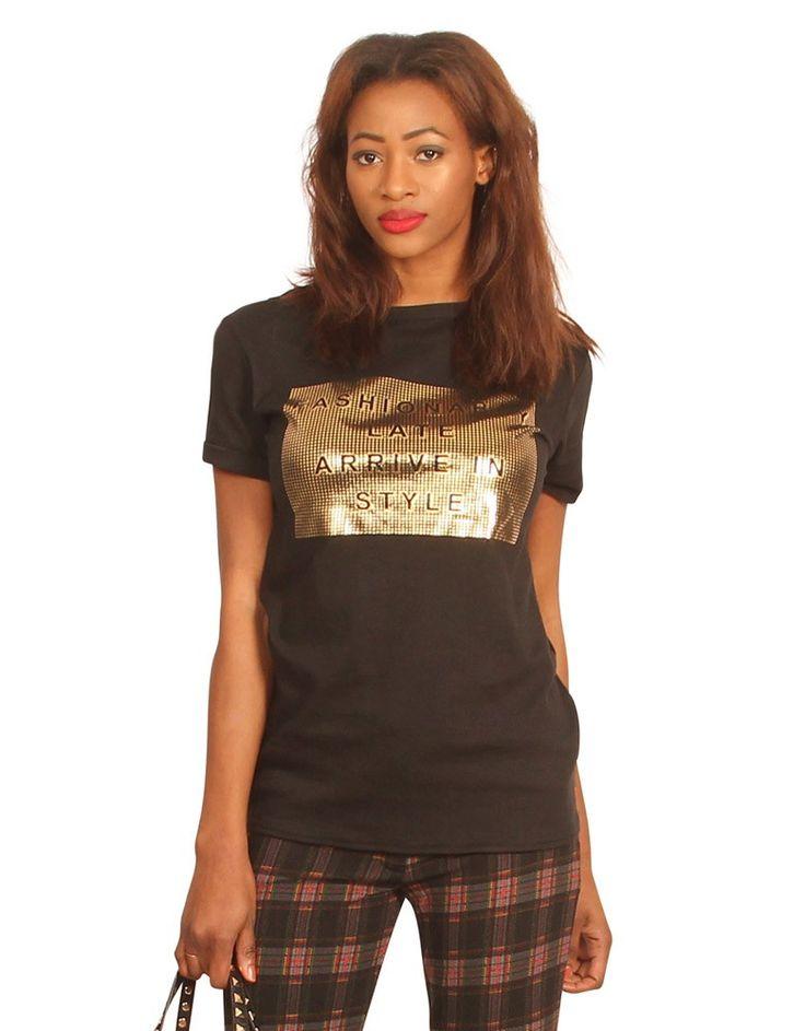 Fashionably Later Arrive in Style' Slogan Oversized Top | ChiaraFashion