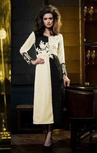 Off White Black Georgette Designer Kurti