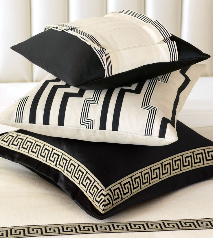 Decorative Bed Pillows Pinterest : Witcoff Black Bordered Decorative Pillows - Abernathy - I like the Greek Key Sofa Pillow ...
