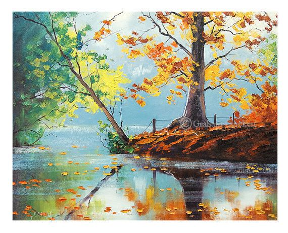 LAKE PAINTING impressionist Oil Painting Fall landscape art Autumn Painting by Graham Gercken