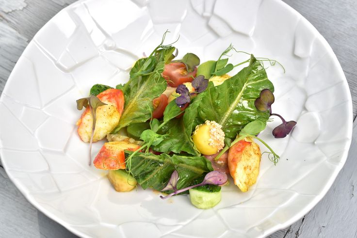 Our summer menu: Salad with warm crab meat, avocado and artichoke/ Наше летнее меню: Салат с крабами и лимонными шариками. Больше информации - http://www.turandot-palace.ru/food-menu/#mix