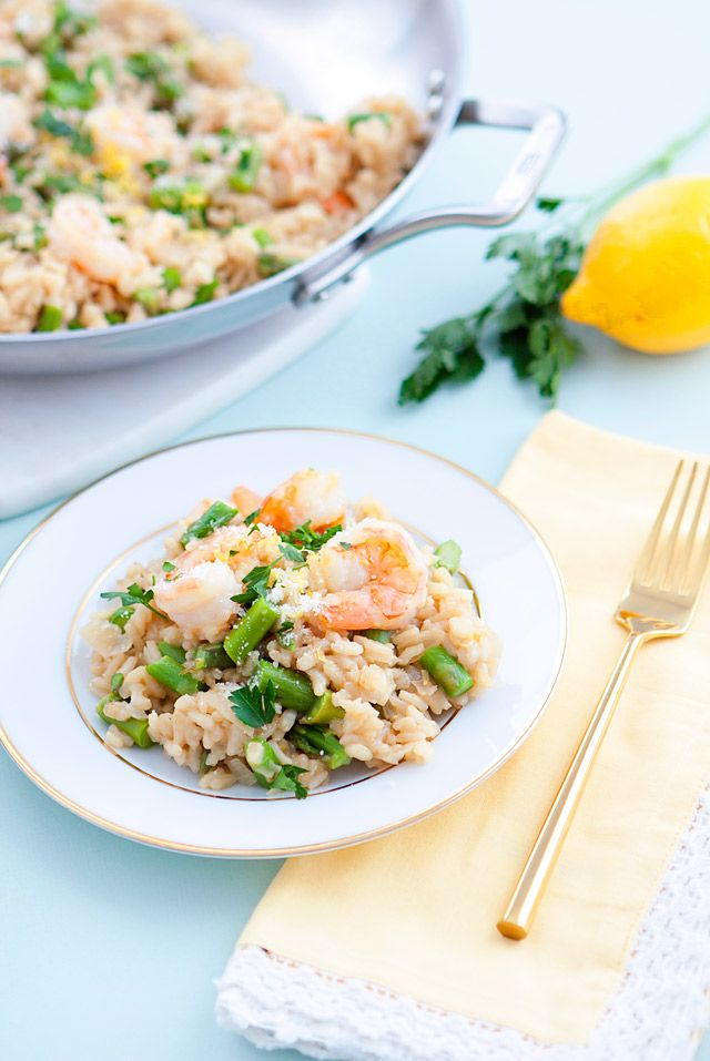 The Perfect Spring recipe: Lemon Asparagus Risotto with Shrimp.  Step by Step Instructions on ArmelleBlog.com