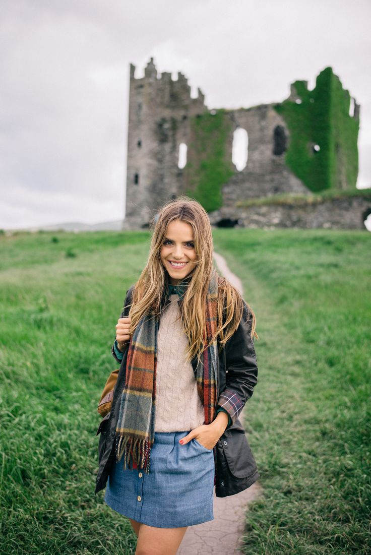 barbour coat, wax jacket,denim skirt, style, fashion, autumn, cable knit jumper, plaid, tartan scarf