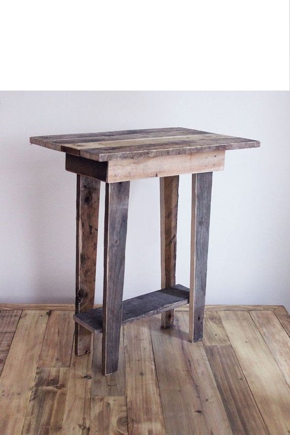 tapered leg reclaimed barnwood end table night stand salvaged wood natural modern rustic girly tall skinny square weathered white wash
