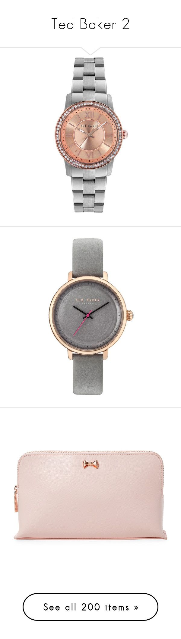 """""""Ted Baker 2"""" by blackman-ann ❤ liked on Polyvore featuring jewelry, watches, stainless steel jewelry, roman numeral jewelry, bezel watches, bezel jewelry, water resistant watches, ted baker watches, ted baker jewellery and ted baker"""