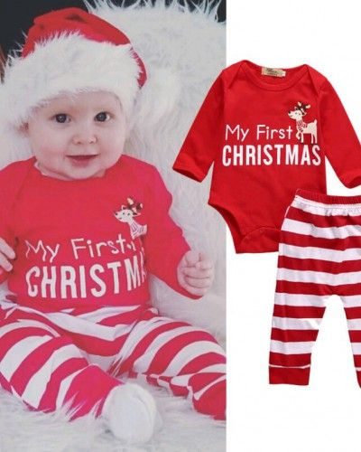 Baby Boy My First Christmas Outfit Red Reindeer Romper Stripe Pants