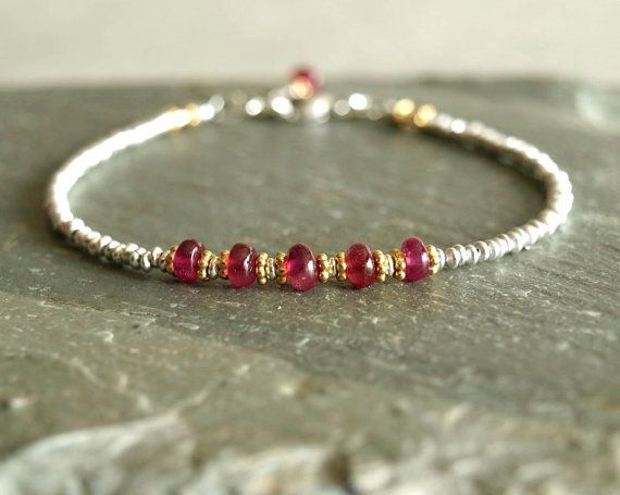 Ruby Bracelet, sterling silver beads, genuine pink red rubies, chic gift for her, ruby birthstone, precious gemstone beads real ruby jewelry