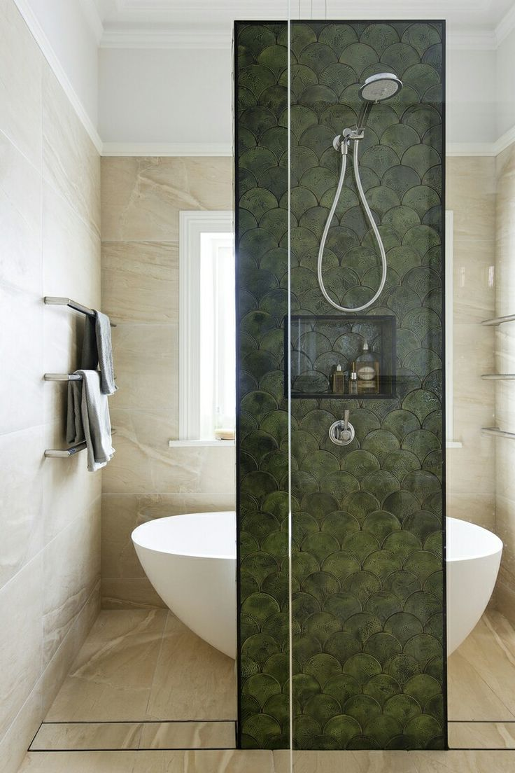 Gorgeous Olive Green Moroccan Fish Scale Tiles Bathroom Inspiration Fish Scale Tile