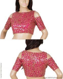 Make a bold statement in this Cold Shoulder   Dressy Pink & Gold Net Blouse with ColdShoulder detail.  Designer Blouse new @sakhifashions