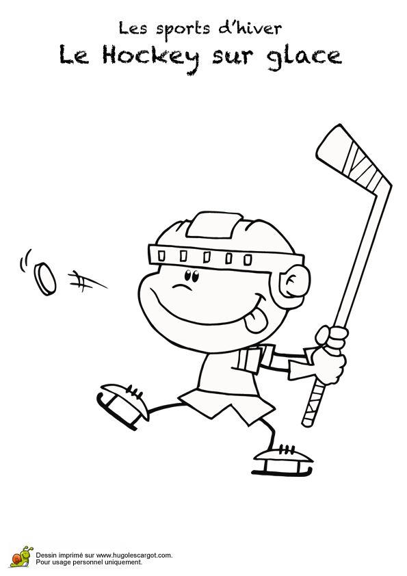 Dessin d'un garçon qui envoie un palet de hockey sur glace, à colorier.