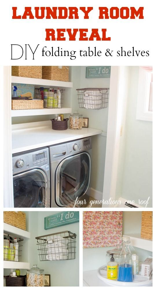 Our budget laundry room reveal {laundry closet} + DIY folding table + floating shelves @Four Generations One Roof