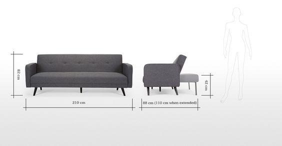 Dimensions d'un canapé scandinave → touslescanapes.com