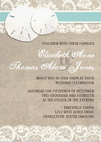 Sand dollar and lace #beach_wedding_invitations