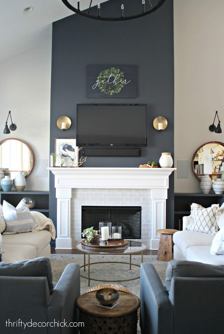 Decorating The Family Room Built Ins Finally Grey Accent