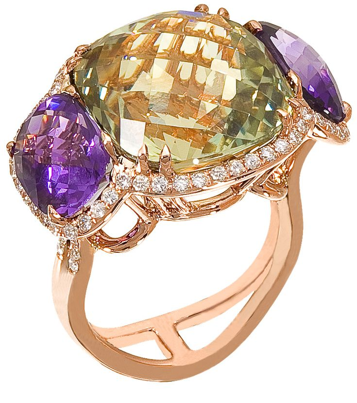 Diamond Ring, .60 Carat Diamonds 5.40 Carat Amethyst 15.15 Carat Topaz on 14K Rose Gold