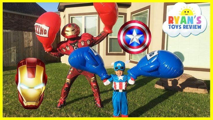 cool Caption America Civil War vs Iron Man Avengers Giant Boxing Challenge Egg Surprise Toys Disney Cars