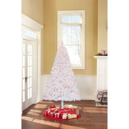 Holiday Time Pre-Lit 6.5' Madison Pine White Artificial Christmas Tree, Multi Lights - Walmart.com