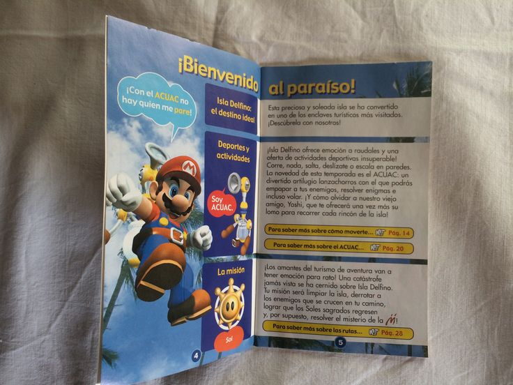 Super Mario Sunshine manual page.