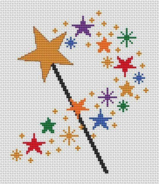 Fairy wand and stars cross stitch.