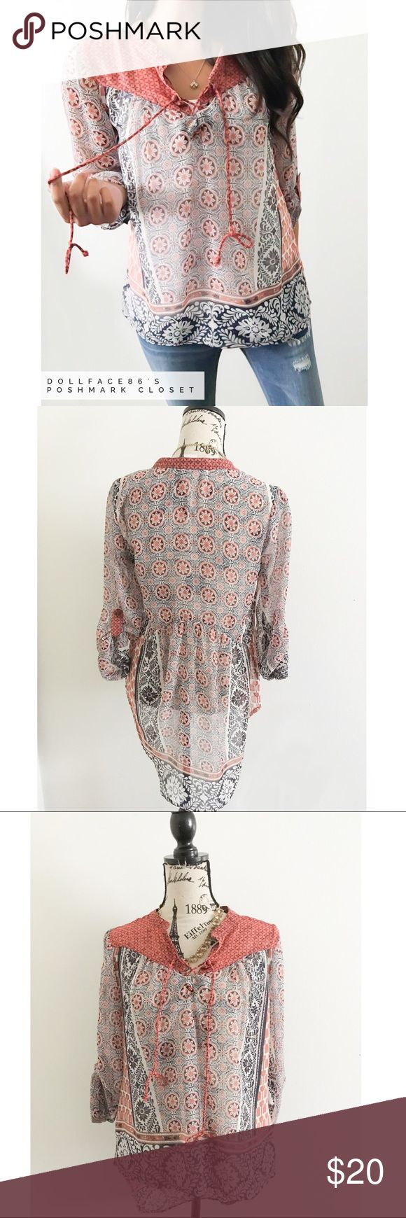 """Boho Lace Up Semi Sheer Blouse ✦   ✦{I am not a professional photographer, actual color of item may vary ➾slightly from pics}  ❥chest:19.5"""" ❥waist:19"""" ❥length:24""""32.5"""" ❥sleeves:25"""" ➳material/care:polyester/machine wash  ➳fit:true  ➳condition:has wear on lace up collar   ✦20% off bundles of 3/more items ✦No Trades  ✦NO HOLDS ✦No transactions outside Poshmark  ✦No lowball offers/sales are final American Rag Tops Blouses"""