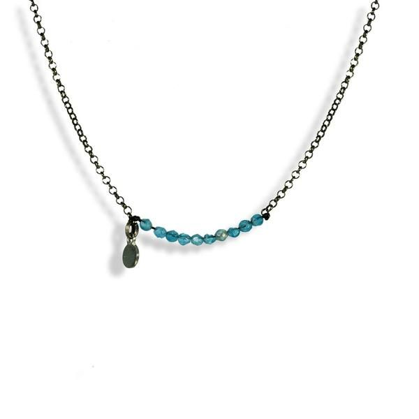 Handmade Black Plated Silver Short Chain Necklace With Sky Blue Crystals - Anthos Crafts - 1