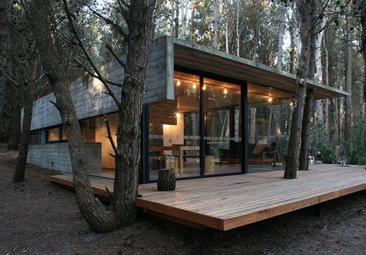casa moderna de hormigón y madera
