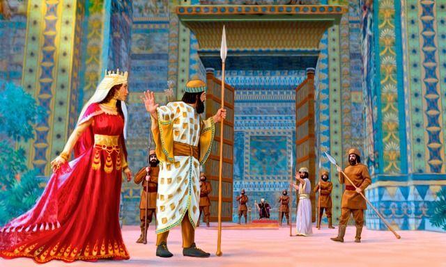 Esther entre dans la cour du roi Assuérus vêtue de ses vêtements royaux