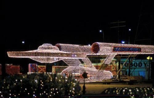 The Enterprise done up in Christmas lights.