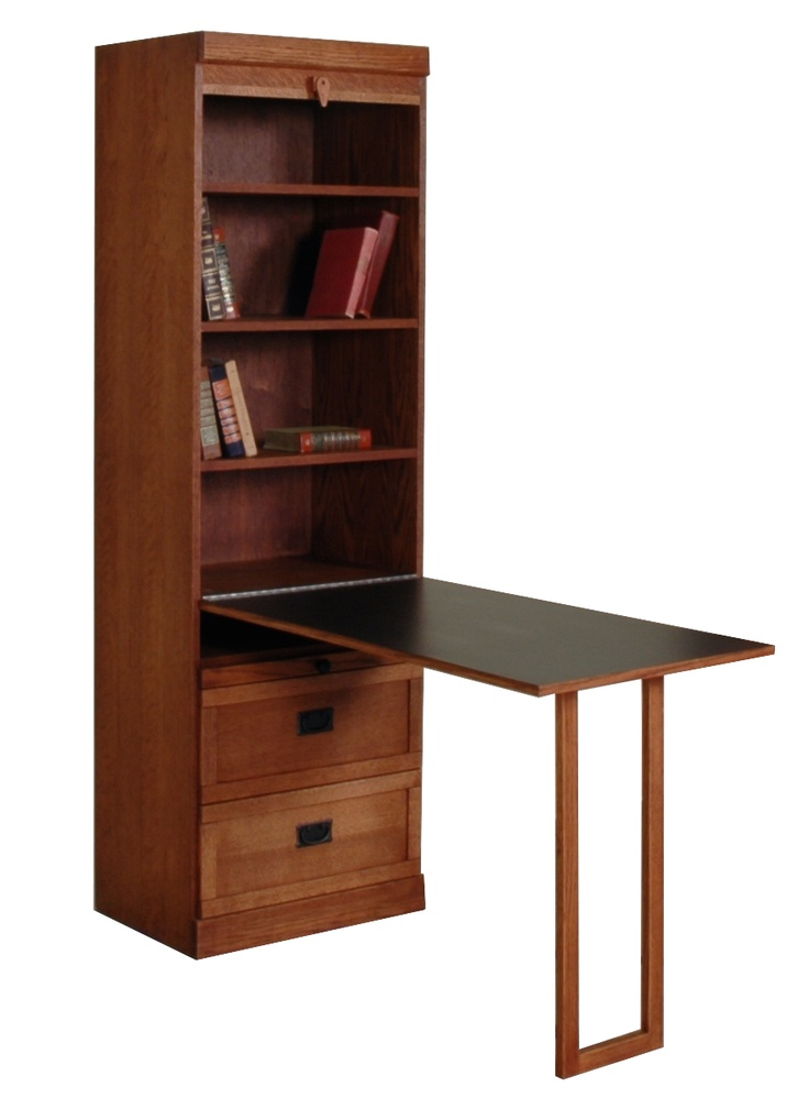 Mission Style Bookcase With Drop Down Table And Bottom