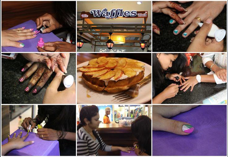 #Ladies enjoyed alot #one #day #free #nailart #offer of #The #waffles #Hut on 23rd August'15 at #PhoenixMarketCity and #SeasonsMall #Pune