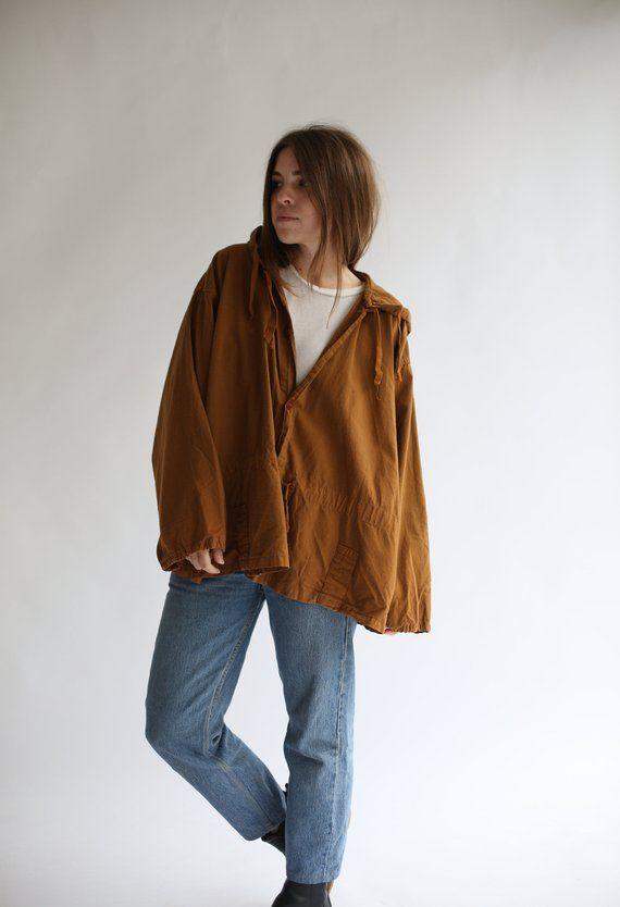 031c1996bd19 Vintage Overdye Almond Brown Hood Jacket Smock Drawstring