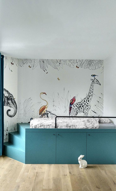 Metrozoo szenische Einrichtung in einem Kinderzimmer. Realisierung von S + D-Architekturen.