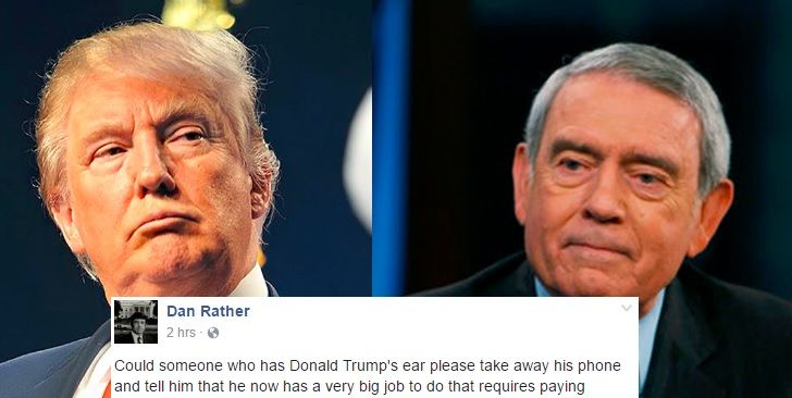 "THIS ASSHOLE REALLY THINKS EVERYBODY LOVES HIM!! Trump Said ""Illegal"" Voters Cost Him The Popular Vote. Dan Rather's Response Is Perfect"