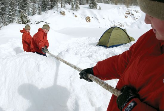 Snow games to play with cub scouts: tug of war thru a bank of snow, snow baseball, racing, golf, and snow scuptures