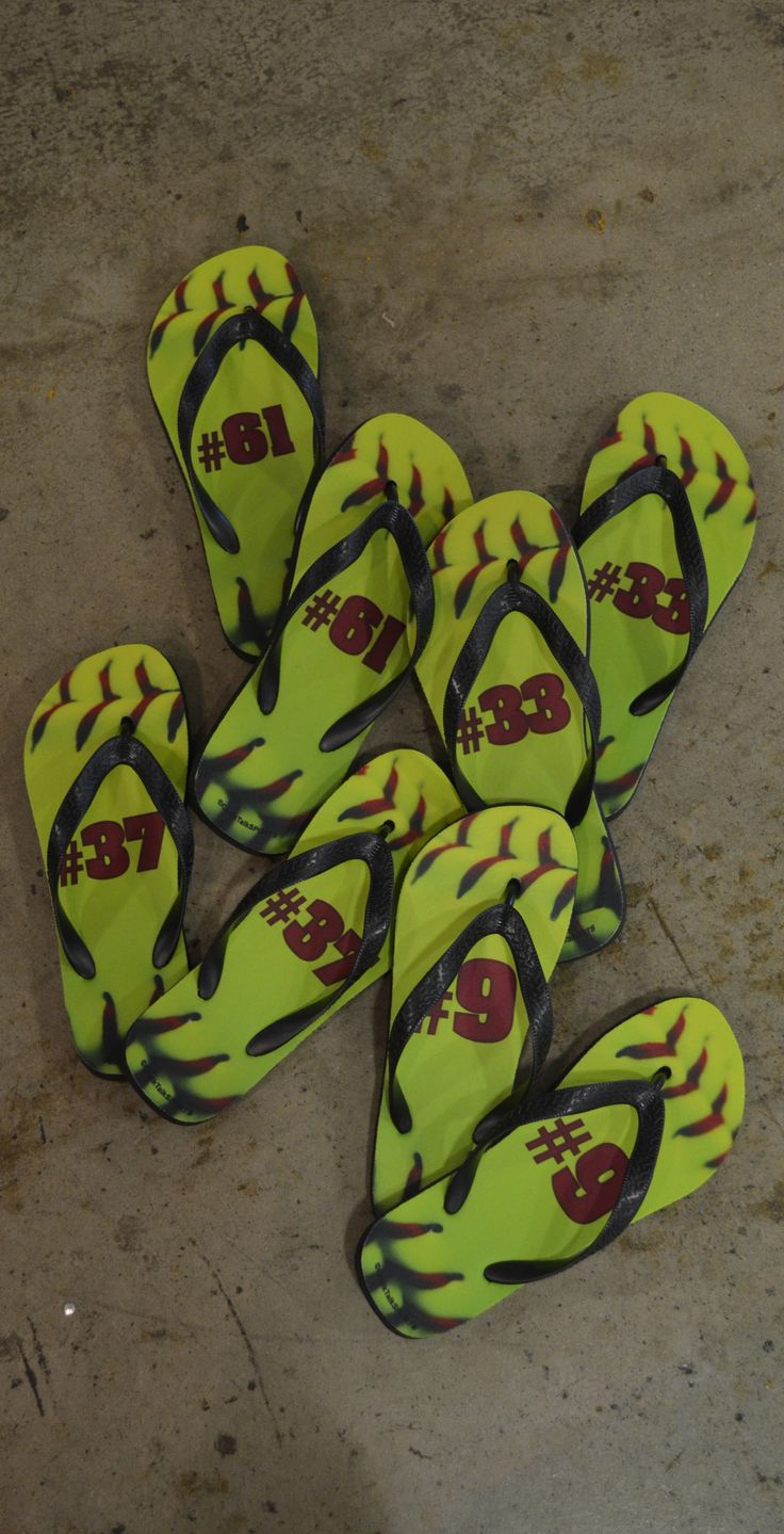 These custom softball flip flops are ideal for kickin it on the beach or to relax in after a long softball game! These softball stitch design flip flops was made for an entire softball team - personalized with each players number! Order your custom softball sandals today!
