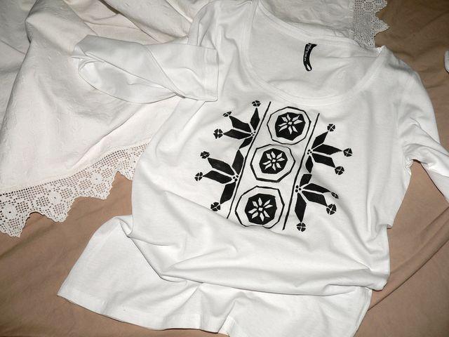 tricou pictat cu modele traditionale- culori speciale pt textile, se spala normal la 30 de grade- 70 ron www.odaiacupicturi.ro