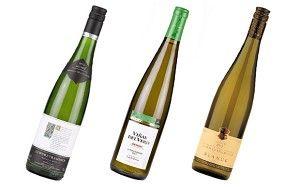 (L-R): Tesco Finest Alsace Gewürztraminer 2012, Viñas del Vero Gewürztraminer 2012, Gewürztraminer 2012 Domaine Paul Blanck
