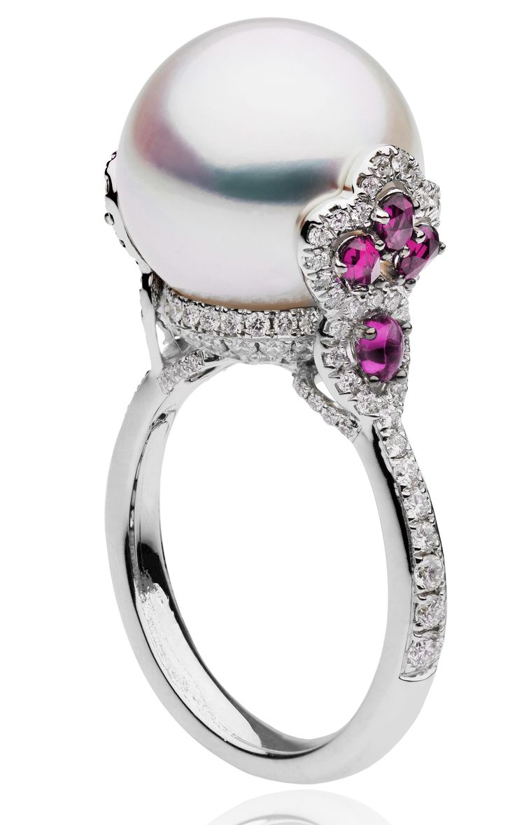 Pearl Ring With Diamonds ♥ #capri #jewelers #arizona ~ Caprijewelersaz