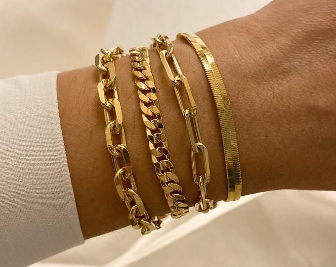 18K Gold Herringbone Bracelet Snake Chain Bracelet Gold Layering Bracelet