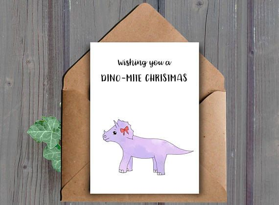 Wishing you a dino-mite Christmas A printable Christmas card featuring a cute dinosaur  This listing is for a DIGITAL DOWNLOAD of the above card. (No physical item will be shipped to you)  ★ WHAT YOU WILL RECEIVE: ★ You will receive the following two files (one JPEG and one PDF):  -One high resolution (300 dpi) 8.5x11 inch JPEG file that cuts to 10x7 inches and 5x7 inches when folded (fits into an A7 envelope)  -One high resolution (300 dpi) 8.5x11 inch PDF file that cuts to 10x7 inches and…