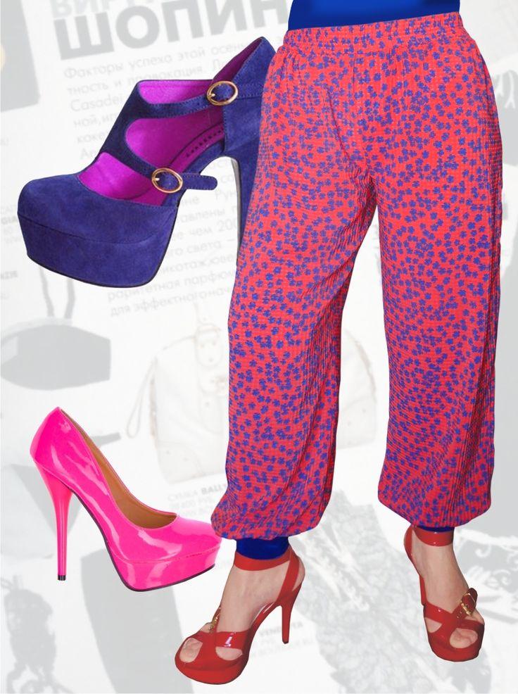 27$ Брюки-шаровары для полных девушек в яркий мелкий цветочек Артикул 528, р50-64 Брюки шаровары большие размеры Брюки шифоновые большие размеры
