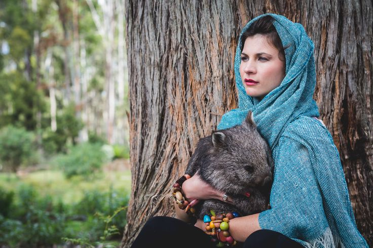 Loose Weave Merino Scarf in Peacock, woven in Tasmanian, Australia paired with eco beads. Fashion Shoot 2015/16 with native wombat images by Emma Leslie Photography, creative director Tamika Bannister  Natural wool scarf, woven. Wild at heart, ethical by nature!