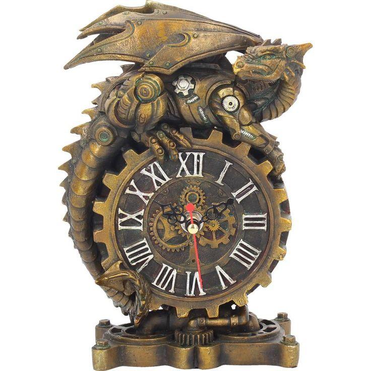 Steampunk Uhr mit Drachen in mechanischem Look | VOODOOMANIACS