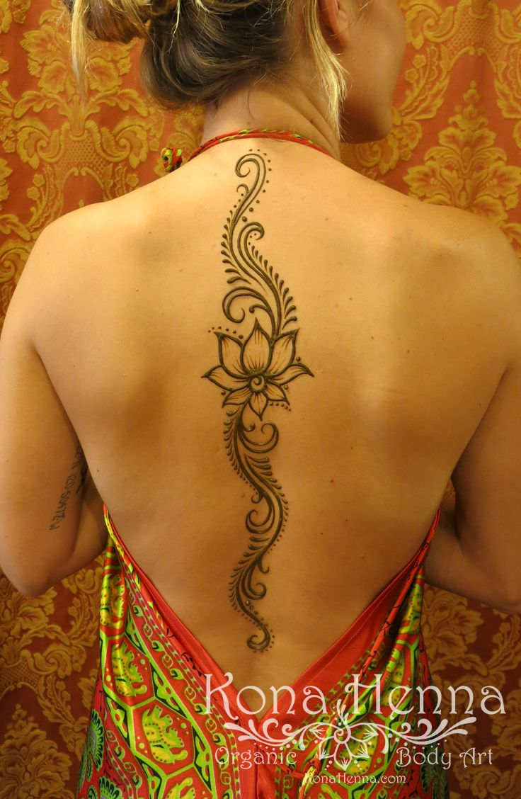 Organic Henna Products.  Professional Henna Studio. KonaHenna.com #back #lotus #spine