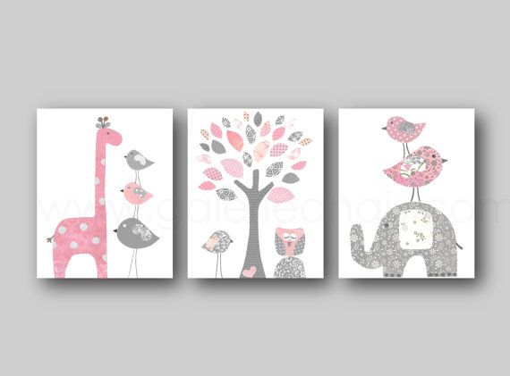 Light pink and gray Girl room decor baby nursery by GalerieAnais